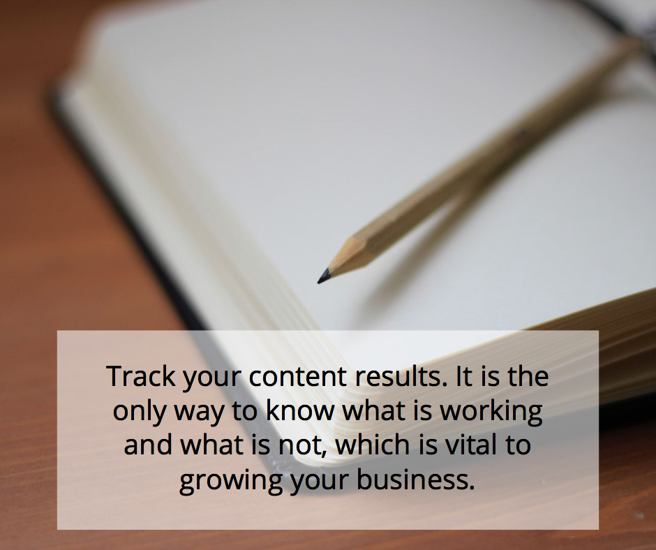Track your content results as this is the only way to know what is working and what is not